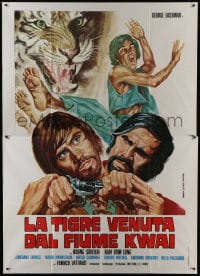 1c163 TIGER FROM RIVER KWAI Italian 2p 1975 George Eastman, cool kung fu art by Zanca!