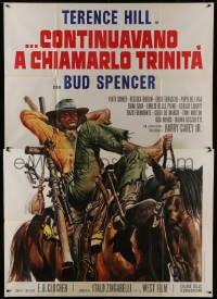 1c165 TRINITY IS STILL MY NAME Italian 2p 1972 cool spaghetti western art of Terence Hill on horse!