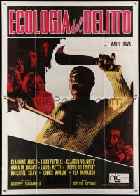 1c169 TWITCH OF THE DEATH NERVE Italian 2p 1971 Mario Bava, wild image of killer getting impaled!