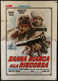 1c176 WHITE FANG TO THE RESCUE Italian 2p 1975 Renato Casaro art of dog attacking man on ground!