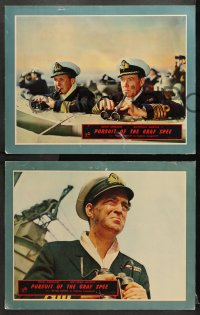 1d239 PURSUIT OF THE GRAF SPEE 8 English LCs 1957 Powell & Pressburger, John Gregson, cool ship!
