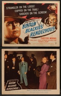 1d062 BOSTON BLACKIE'S RENDEZVOUS 8 LCs 1945 Morris chases after a strangler, rare complete set!