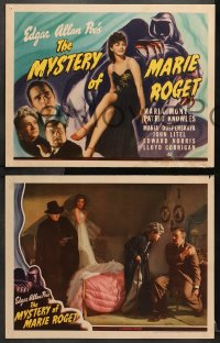 1d208 MYSTERY OF MARIE ROGET 8 LCs 1942 Edgar Allan Poe, Patric Knowles, rare complete set!