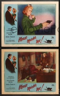 1d229 PLEASE MURDER ME 8 LCs 1956 Godfrey, great images of Angela Lansbury and Raymond Burr!