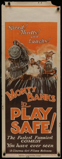 1f018 PLAY SAFE long Aust daybill 1927 wacky different art of Monty Banks between train and car!