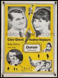 1f031 CHARADE Canadian 1963 art of tough Cary Grant & sexy Audrey Hepburn, completely different!