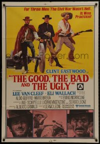 1f008 GOOD, THE BAD & THE UGLY Indian 1968 art of Clint Eastwood & Lee Van Cleef, Sergio Leone!