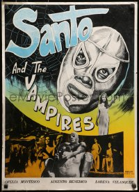 1f002 SAMSON VERSUS THE VAMPIRE WOMEN Iranian 1966 different art of Mexican masked wrestler Santo!