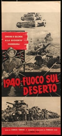 1f877 1940 FUOCO SUL DESERTO Italian locandina 1958 Fire in the Desert, World War II, different!