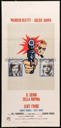 1f876 $ Italian locandina 1972 bank robbers Warren Beatty & Goldie Hawn, bank heist is on!