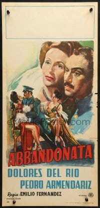 1f920 LAS ABANDONADAS Italian locandina 1949 different art of Dolores Del Rio & Armendariz!
