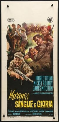1f881 AMBUSH BAY Italian locandina 1966 Olivetti art of Hugh O'Brian, Mickey Rooney & Mitchum!