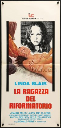 1f886 BORN INNOCENT Italian locandina 1976 artwork of naked runaway Linda Blair in peril!