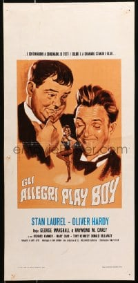 1f905 GLI ALLEGRI PLAY BOY Italian locandina 1972 Piovano art of Laurel & Hardy & sexy dancer!
