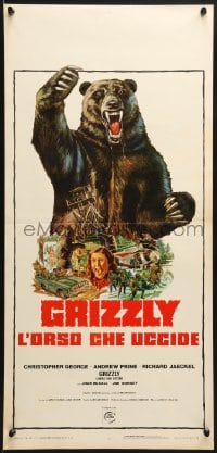 1f907 GRIZZLY Italian locandina 1976 great art of grizzly bear attacking sexy camper & more!