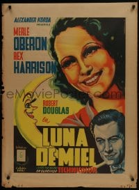 1f026 OVER THE MOON Mexican poster 1940 Merle Oberon, Harrison, Juan Antonio Vargas Ocampo art!