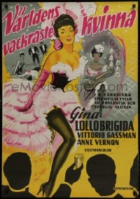 1f039 BEAUTIFUL BUT DANGEROUS Swedish 1957 art of sexiest Gina Lollobrigida, Vittorio Gassman!