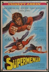 1f027 3 SUPERMEN AGAINST GODFATHER Turkish 1979 wonderful art of flying superheros!