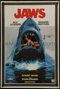 1f029 JAWS Turkish 1981 best different art of classic man-eating shark with sexy girl in mouth!