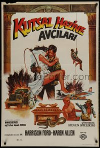 1f030 RAIDERS OF THE LOST ARK Turkish 1983 cool completely different art of Harrison Ford by Muz!