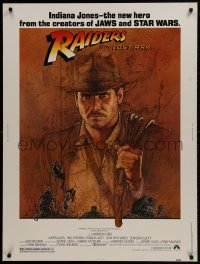 1g097 RAIDERS OF THE LOST ARK 30x40 1981 great art of adventurer Harrison Ford by Richard Amsel!