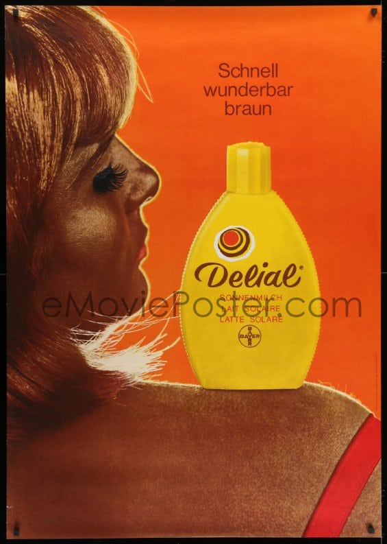 Emovieposter Com 1k130 Delial 36x51 Swiss Advertising Poster 1969 Lotion On Sexy Tanned Woman Cool Close Up