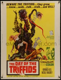 1m062 DAY OF THE TRIFFIDS linen 30x40 1962 classic English sci-fi horror, art of monster with girl!