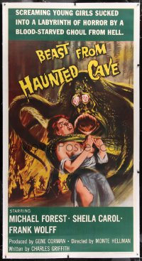 1m009 BEAST FROM HAUNTED CAVE linen 3sh 1959 uncensored art of monster with sexy near-naked victim!