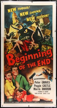 1m010 BEGINNING OF THE END linen 3sh 1957 Peter Graves & Peggie Castle, giant grasshopper sci-fi!