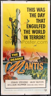 1m011 DEADLY MANTIS linen 3sh 1957 classic art of giant insect on Washington Monument by Ken Sawyer!