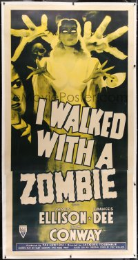 1m012 I WALKED WITH A ZOMBIE linen 3sh R1952 classic Val Lewton & Jacques Tourneur, striking & rare!