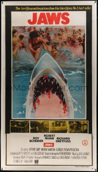 1m004 JAWS linen Indian 3sh 1975 different art of bloody shark by terrified beachgoers, ultra rare!