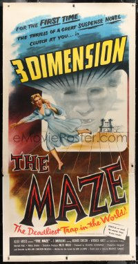 1m014 MAZE linen 3D 3sh 1953 William Cameron Menzies, art of screaming girl running off screen!