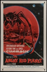1m064 ANGRY RED PLANET linen 1sh 1960 great artwork of gigantic drooling bat-rat-spider creature!