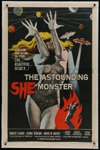 1m066 ASTOUNDING SHE MONSTER linen 1sh 1958 art of the beautiful & deadly creature from the stars!