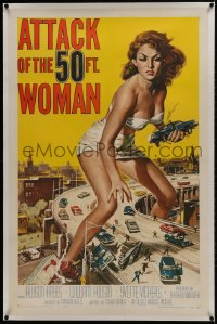 1m067 ATTACK OF THE 50 FT WOMAN linen 1sh 1958 classic Brown art of giant Allison Hayes over highway!