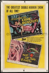 1m069 ATTACK OF THE CRAB MONSTERS/NOT OF THIS EARTH linen 1sh 1957 greatest double-horror show!