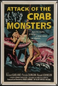 1m068 ATTACK OF THE CRAB MONSTERS linen 1sh 1957 Roger Corman, art of sexy girl attacked by beast!