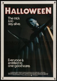 1m022 HALLOWEEN linen Aust 1sh 1979 John Carpenter classic, best different image of Michael Myers!