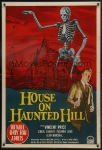 1m001 HOUSE ON HAUNTED HILL LAMINATED Aust 1sh 1959 Vincent Price & skeleton, ultra rare & different!