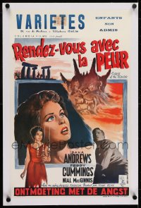 1m016 NIGHT OF THE DEMON linen Belgian 1957 Jacques Tourneur, different art, Curse of the Demon!