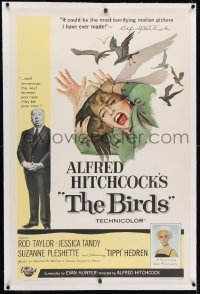 1m071 BIRDS linen 1sh 1963 Alfred Hitchcock shown, Tippi Hedren, classic intense attack artwork!