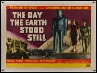 1m017 DAY THE EARTH STOOD STILL linen British quad 1951 different art of Gort, Neal & Rennie, rare!