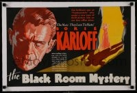 1m025 BLACK ROOM linen campaign book page 1935 different art of Boris Karloff, Black Room Mystery!