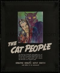 1m027 CAT PEOPLE linen campaign book page 1942 Jacques Tourneur, different art of Simone Simon!