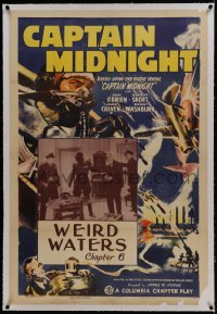 1m073 CAPTAIN MIDNIGHT linen chapter 6 1sh 1942 art of pilot Dave O'Brien, serial, Weird Waters!