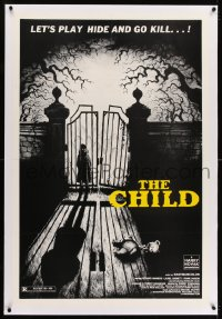1m075 CHILD linen 1sh 1977 creepy image of kid standing by gate, let's play hide & go kill!