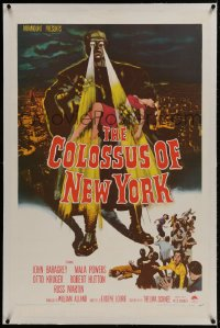 1m076 COLOSSUS OF NEW YORK linen 1sh 1958 great art of robot monster holding sexy girl & attacking!