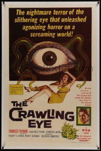 1m077 CRAWLING EYE linen 1sh 1958 classic art of the slithering eyeball monster with female victim!