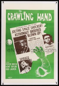 1m078 CRAWLING HAND linen military 1sh 1963 wacky horror, art of disembodied hand & newspaper!
